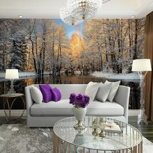 Winter nature landscape home decor living room wall mural papel de parede birch trees forest snow scenery hd photo wallpaper(China (Mainland))