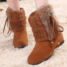 Botas de tobillo de mujer para la piel de conejo nueva moda a prueba de agua plataforma de la cuña invierno nieve caliente botas zapatos de mujer bajo valor(China (Mainland))