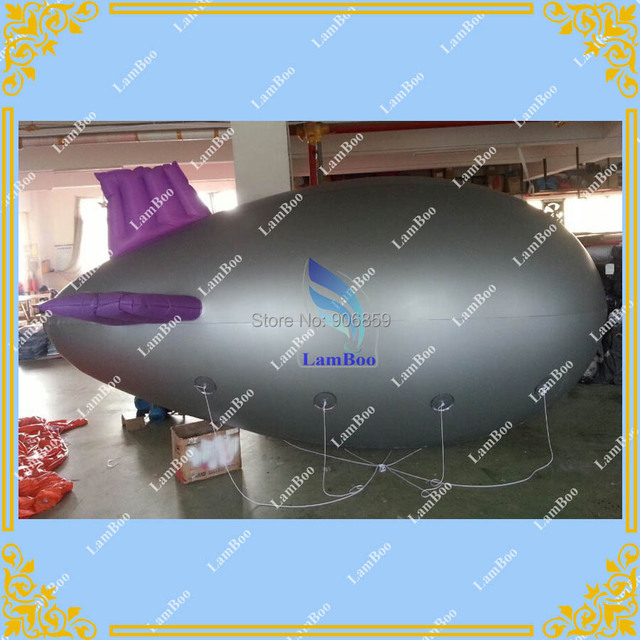 FREE SHIPPING Nice Design 13ft/4m Long Silver Inflatable Airship/Zeppelin with Purple wings for Advertisement/DHL shipping
