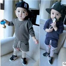 2016 new star children's clothing children's sports pants suit boy pants suit boy suit stripe cotton stripe suit children's wear