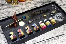 European style retro quill pen Fire paint with stamp stationery Dipped in a pen Fountain Pens set gift box color ink(China)