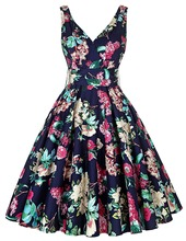 Women Big Swing Dress Summer style 2016 Casual Retro Vintage 1950s 60s Floral Print Dresses Plus Size Elegant Tunic Vestidos(China (Mainland))