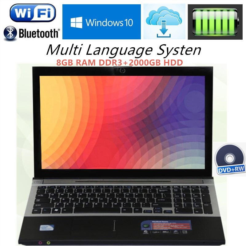 """8GB RAM+2000GB HDD Intel Core i7 Dual-core 15.6""""1920X1080P Windows 7/10 Notebook PC Laptops Computer with DVD-RW For Office Home(China (Mainland))"""
