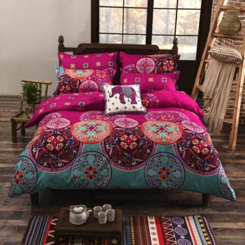 Fashion Bohemian Mandala Bedding Set (Duvet Cover + Bedsheet + Pillowcase) Kaleidoscope Flowers Red Twin Full Queen King Size(China (Mainland))