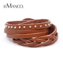 EManco Multicolore Multi-livello di tessuti A mano stile punk braccialetto di cuoio di marca Nuovo di Alta Qualità Di Modo pulseiras BL05447(China)