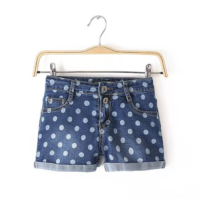2015 new women's quality high waist dot print roll cuff denim shorts - Chic Classic Store store