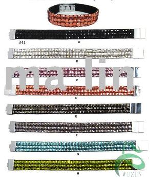 cheapest!3rows magnetic square rhinestone leather bracelet Mixcolor/lot
