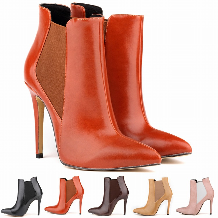 New Loslandifen 2015 women's top quality pointed toe ankle boots design brand ladies high heel boots 35-42 Free Shipping(China (Mainland))