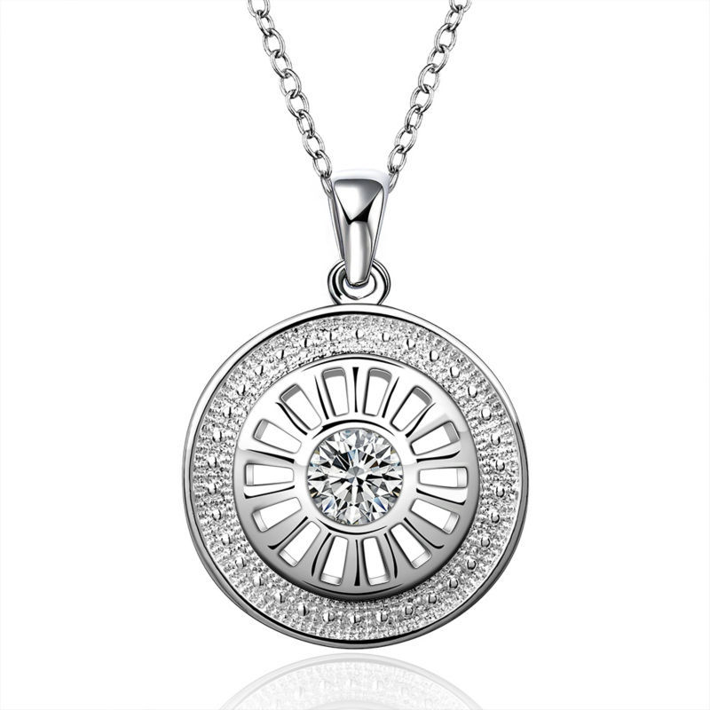 18 inch Crystal 925 Sterling Silver Long Pendant Necklace Jewelry for Women Girl Factory Price free
