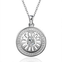 18 inch Crystal 925 Sterling Silver Plated Long Pendant Necklace Jewelry for Women Girl  Factory Price free shipping