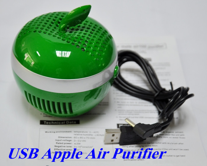 Hottest USB Apple Air Purifier Air Cleaner Ionizer PC Air Fresheners Anionic Air Purifier Laptops USB oxygen Free shipping(China (Mainland))