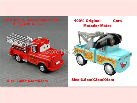 2pcs/lot-Pixar Cars,Mater Cars Diecast Figure Toys with Musical,Flashing,Pull Back--Matador Mater,Fire Fighting Truck Mater(China (Mainland))