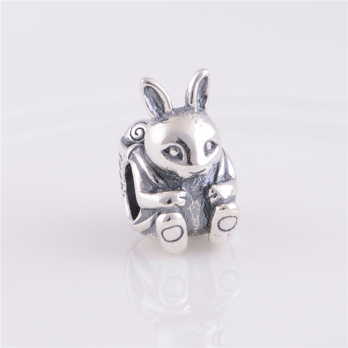 Animal Rabbit 925 Sterling Silver Large Threaded Hole Charm Silver Beads, Fits European Jewelry Bracelets Necklaces & Pendants(China (Mainland))