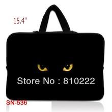 "15"" 15.4""inch waterproof notebook laptop sleeve case handle bag briefcase-Hiden Handle-536 Eyes of Black Cat(China (Mainland))"