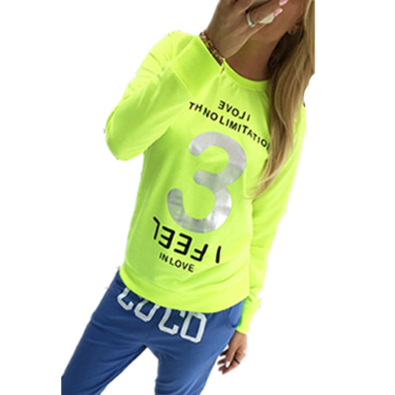 Sports Women T Shirt Neon Color Stamping Love Print