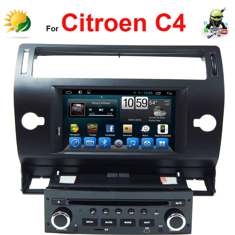 Android 4.4.2 touch screen car multimedia player for Citroen C4 dvd gps Navigation Radio Blueetooth TV 3G WIFI 7 inch car stereo(China (Mainland))