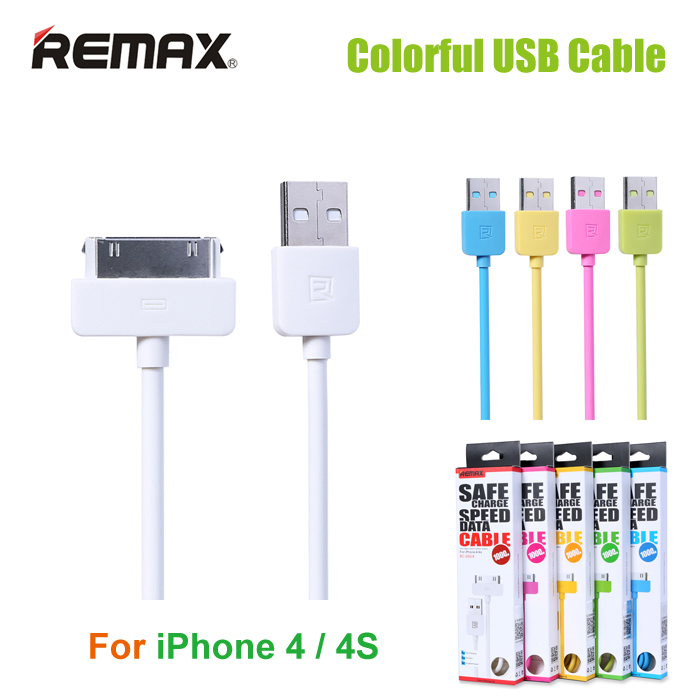 2015 Newest Original REMAX 30 pin USB Data Cable for iPhone 4 / 4S Colorful Charging Cable for iPad 2 / 3 With Retail Packing(China (Mainland))