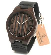 BOBO BIRD V-B11 Natural madera de ébano reloj de pulsera de cuero genuino negro de sándalo para hombre montre homme marca de lujo(China)