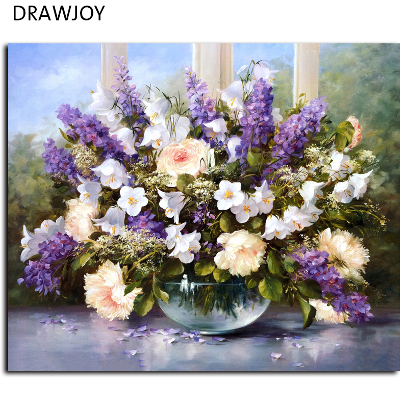 Frameless Picture Painting By Numbers Modern Flower Home Decoration For Living Room Hand Unique Gifts G053 Picture Wall Art(China (Mainland))