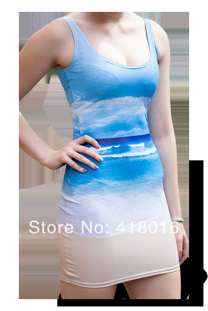 Hot sale 2015 new arrival women's fashion blue sky and sands print sundress galaxy digital print dress Free Shipping(China (Mainland))