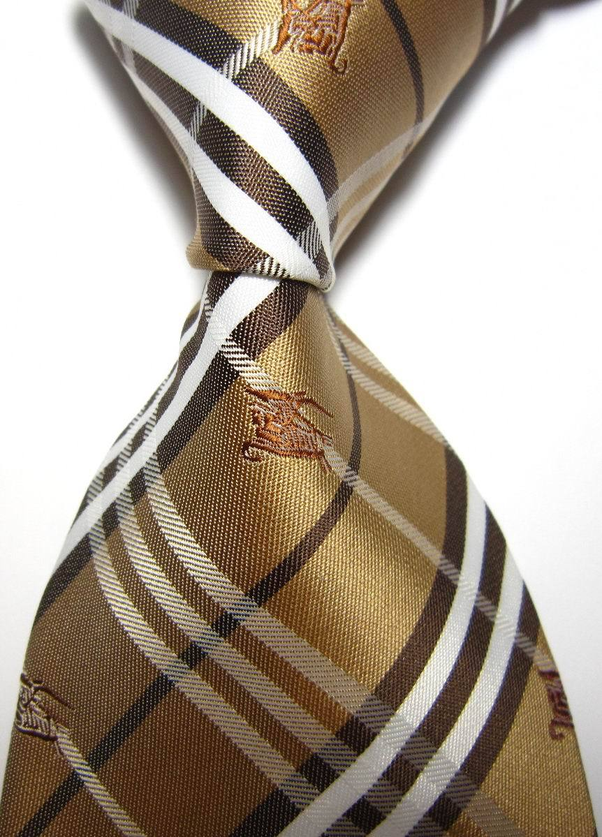 New Classic Plaid Gold White Brown Animal Jacquard Woven 100% Silk Neckties Fashion Formal Business Wedding Party Men Tie #30(China (Mainland))