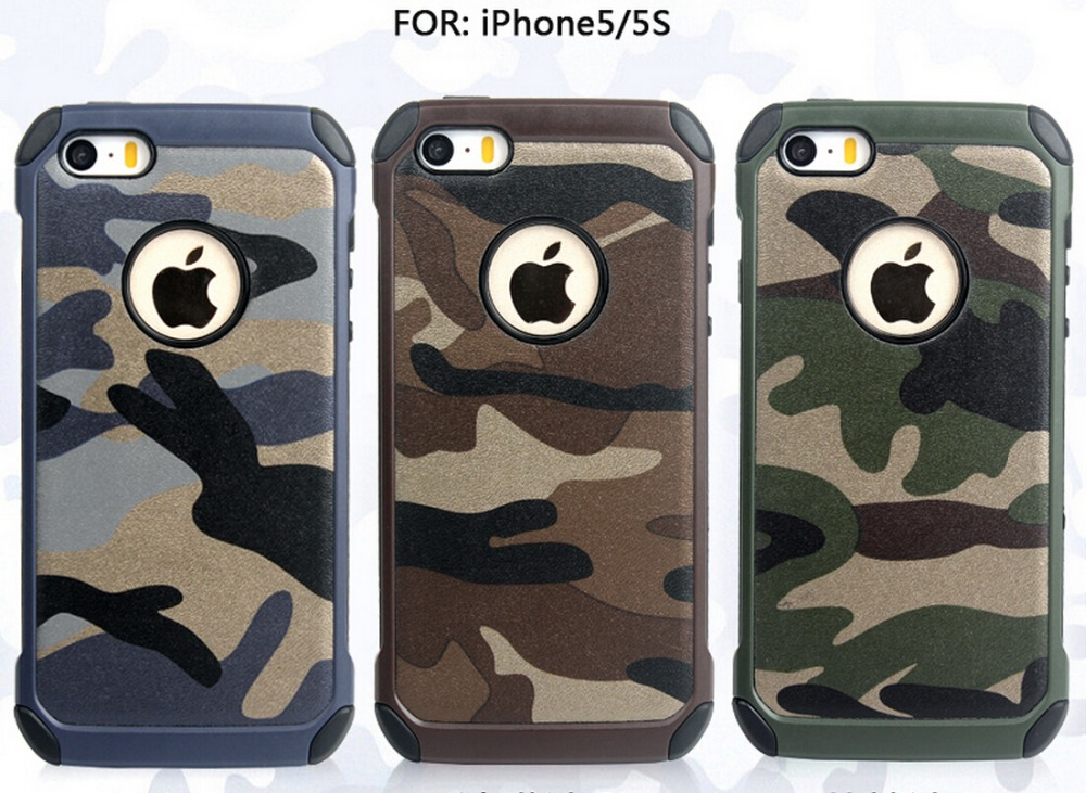 Newest Camouflage Silicon+PC Cell phone case for Apple Iphone 5 5G 5S Hybrid Durable back cover mobile shell 2016 New N(China (Mainland))