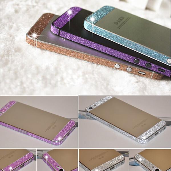 Luxury Colorful Glitter Bling Diamond Full Body Side Rhinestone Sweets Deco Phone Bling Diamond Skin Sticker For iphone 5 5s(China (Mainland))