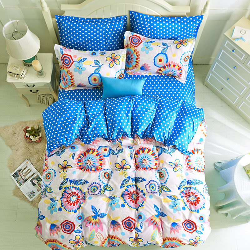 Artificial Cotton Bedding Sets Duvet Cover Flat Sheet Pillowcase Twin Full Queen King Size Comforter Bed Clothe(China (Mainland))