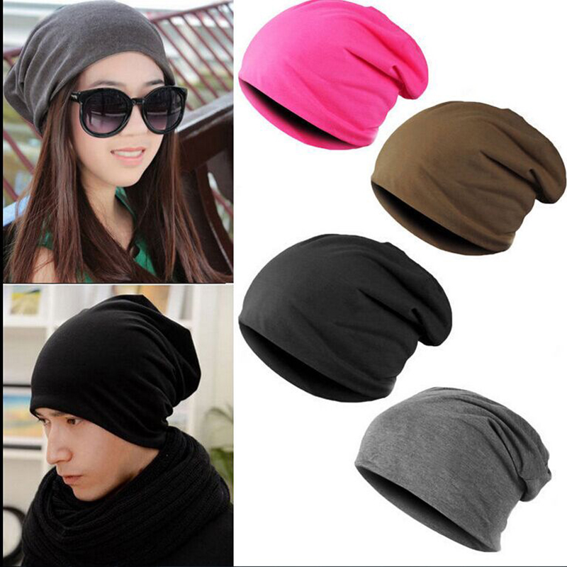 Men Women Beanie Solid Color Hip-hop Slouch Unisex Knitted Cap Warm Winter Hat Ski Cotton Cap high-quality(China (Mainland))