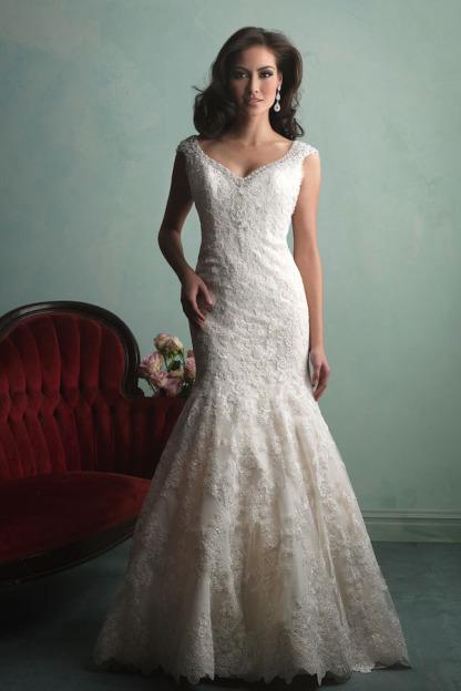 Corset open back vintage lace mermaid wedding dress 2015 for Vintage open back wedding dresses