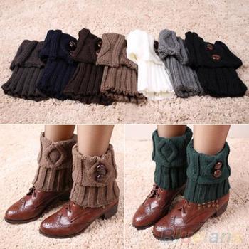 Женщины зимой гетры носки кнопка крючком вязать загрузки ботворезы манжеты 1Q8Q 49J6