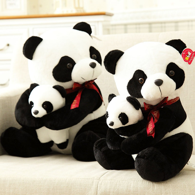 25 см малый размер мать и ребенок панда плюшевые игрушки мультфильм фаршированные плюшевые куклы подарок на день рождения