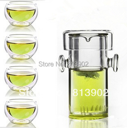 FREE SHIPPING+ Coffee & Tea Sets +240ml glass flower teapot +4 Double-wall Cup + PIAOYi FCB001