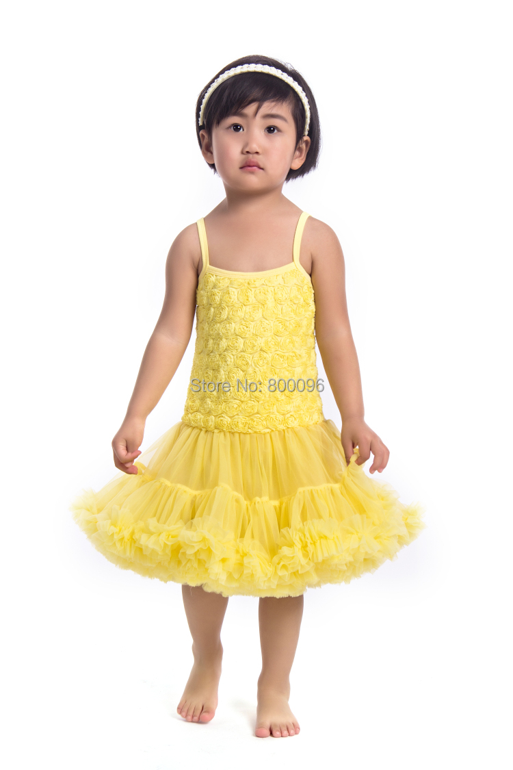 2015 fashion Newest design dress rosette dress party birthday dress petti dress pettidress for baby girls KP-RDS018(China (Mainland))