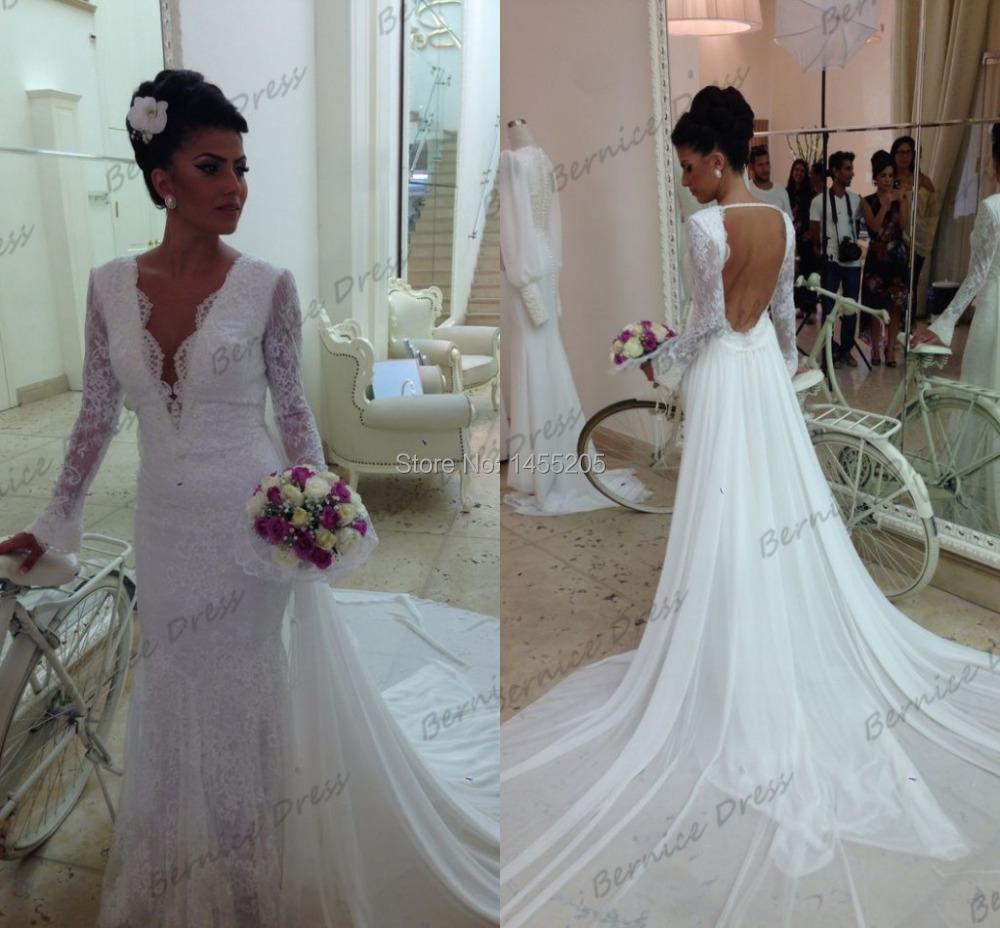 Новый v-образным вырезом белое кружево русалка спинки сексуальная платья Novias длинные рукава свадебные платья свадебные платья 2014 с длинным шлейфом