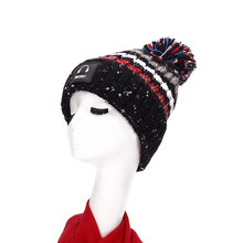 Women Knit Beanies With Pom Pom And Colorful Graffiti Winter Double Layers Thick Cap Blue Red Ladies Designer Winter Hat