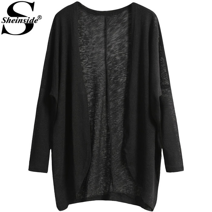 Sheinside Loose Woman Casual Sweaters Open Front Fashion Designers 2015 Knitted Black Long Sleeve Knitting Cardigan(China (Mainland))