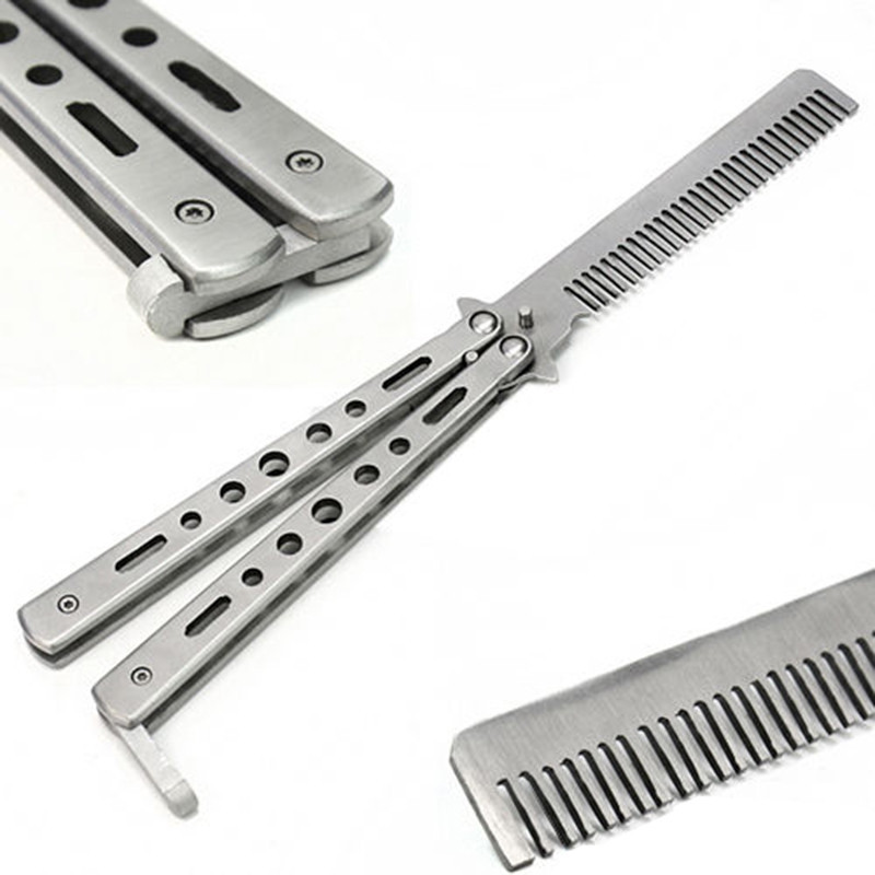 Silver Practice Butterfly Knife Trainer Folding Knife Dull Tool outdoor camping knife comb Free Shipping