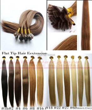 """Бесплатная доставка 18 """"-28"""" 100% индийские remy человеческих волос Предварительно Таможенного плоским наконечником волос"""