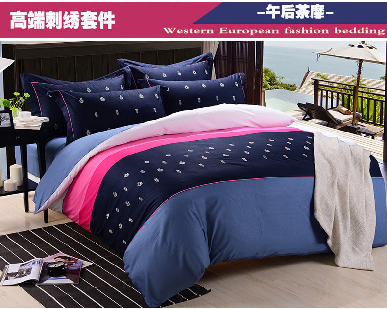 aliexpress buy solid color embroidered bedding sets 100 cotton housse de couette king