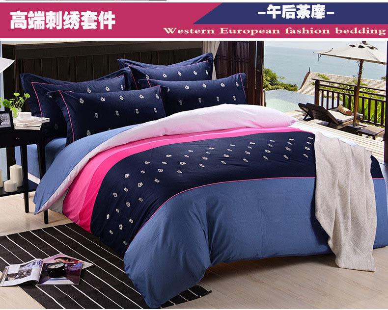 buy solid color embroidered bedding sets 100 cotton housse de couette king. Black Bedroom Furniture Sets. Home Design Ideas