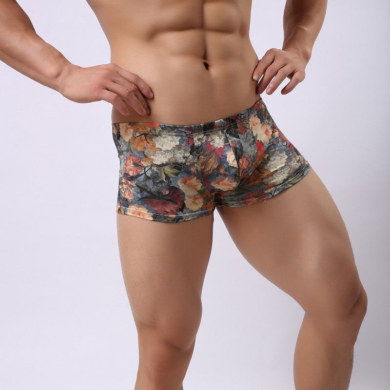 2016 Sexy New Trunks Sexy Flowers Print Underwear Men's Boxer Briefs Shorts Bulge Pouch Soft Underpants(China (Mainland))