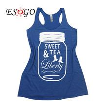Sweet Tea & Liberty – Flowy Eco Tri-Blend Women's Tank Top. Sizes XS-XL. 4th of July Tank Top. Southern Pride T-Shirt.