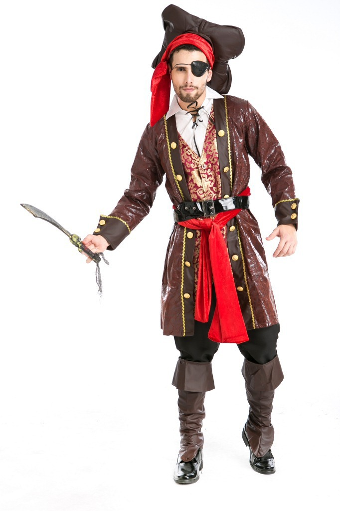 Captain Jack Halloween Man's Pirates of the Caribbean Costumes Role Play Costumes Masquerade Pirates Cosplay Costume H1551023