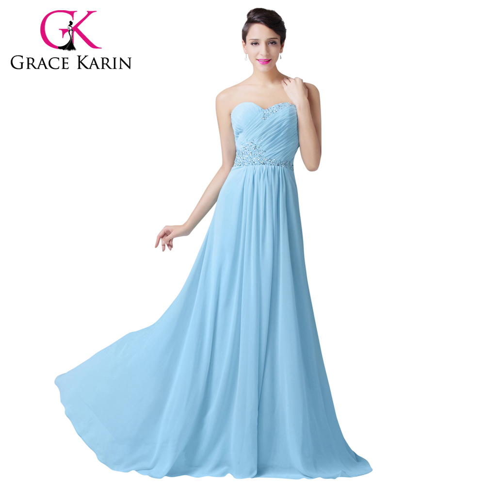 Грейс карин длинные формальное голубой шифон вечерние платья элегантный милая блестки платье для особых случаев платья 6230