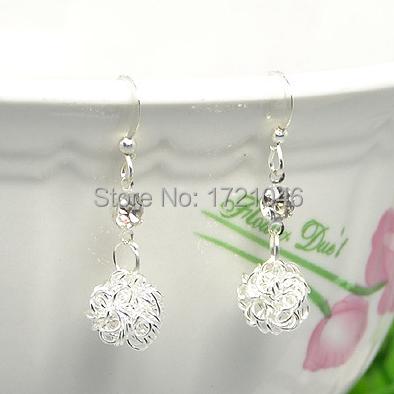 Wholesale 925 Sterling Silver earrings Fashion fine Jewelry bijoux Hypoallergenic Sphere stud earrings For Women ED033B(China (Mainland))