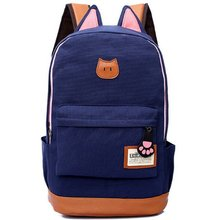 New canvas the cat ears fashion men and women backpack Korean version of the influx shoulder bag rucksack schoolbag MI6542(China (Mainland))