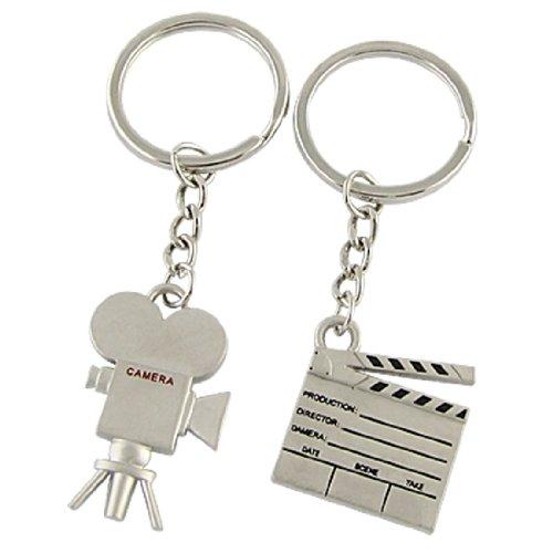 IMC Wholesale 2Pcs Fashion Metal Silver Tone Film Clipboard Camera Pendent Key Chain Ring(China (Mainland))