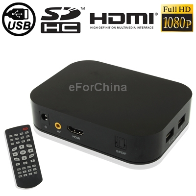 1080P Full HD Media Player with Remote Control / HDMI Interface, Support SD Card / USB Flash Disk(China (Mainland))