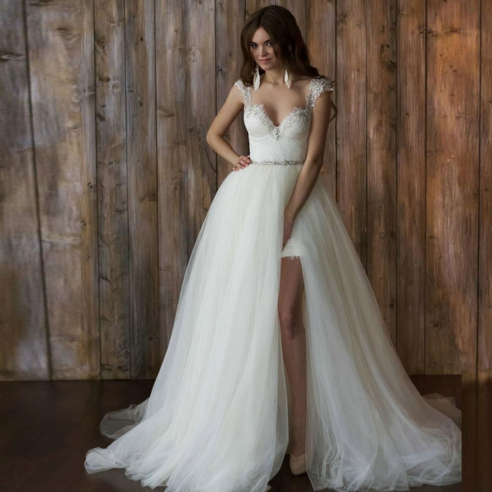 Sexy Two Pieces Beach Wedding Dress Open Back Sleeveless Lace Bridal Dresses 2016 Vestido De Novia Detachable Train Wedding Gown(China (Mainland))